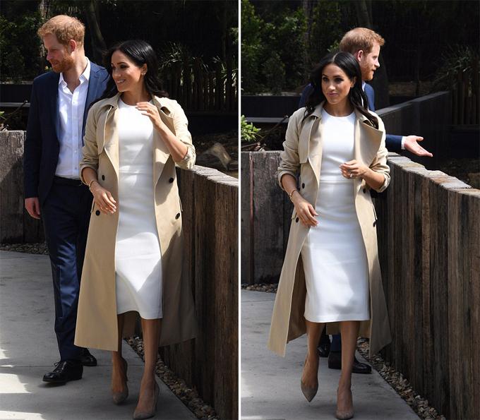 Khi đi tham quan vườn thú, Meghan thay lại đôi giày cao gót màu nude. Cô mặc thêm chiếc áo khoác ton sur ton với đôi giày vì trời chuyển gió lớn.