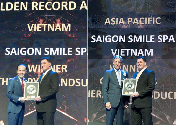Nhờ những hiệu quả tích cực trên, Saigon Smile Spa là đơn vị đầu tiên nhận cùng lúc 3 giải thưởng uy tín quốc tế năm 2018: Hệ thống Medical spa Top 1 châu Á-Thái Bình Dương; Top 1 Việt Nam số ca trị liệu Ultherapy thành công; Đối tác chiến lược của Tập đoàn Merz. Ông Robert Nussbaum (áo vest đen) - Giám đốc nghiên cứu và phát triển của hệ thống đại diện lên nhận giải.