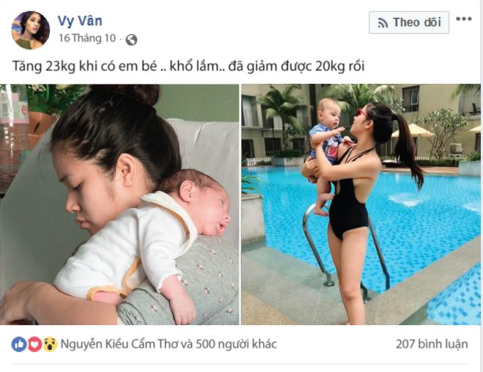 Hình ảnh gây chú ý của Vy Vân trên trang cá nhân.