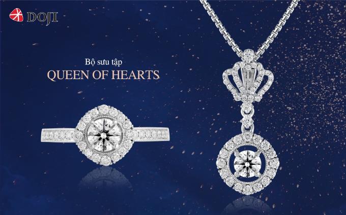 Kim cương sử dụng cho bộ sưu tập Queen of hearts đượckiểm định chất lượng quốc tế IGI với thiết kế đặc biệt, tôn lên khí chất của người phụ nữ thành đạt,tự tin.