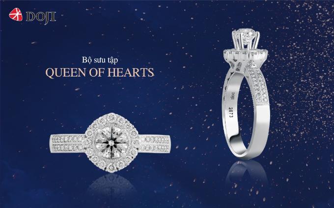 Viên kim cương chủ 8 trái tim 8 mũi tên với những giác cắt tinh xảo gợihình ảnh người phụ nữ hiện đại, mạnh mẽ, tự tin.