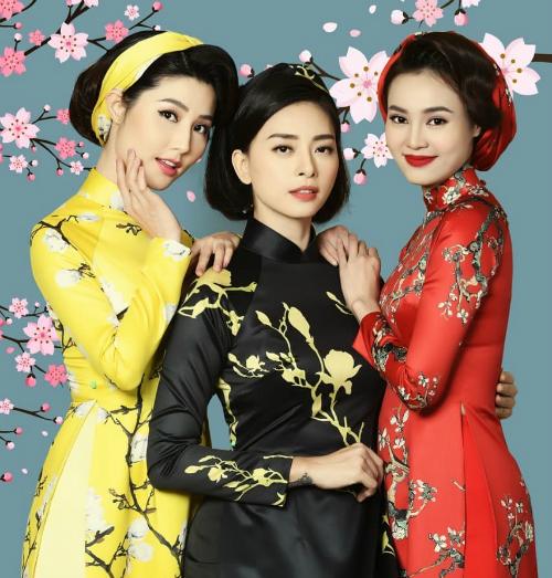 Lan Ngọc, Ngô Thanh Vân và Diễm My nữ tính với áo dài.
