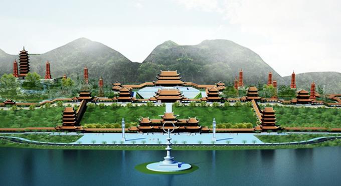 Phối cảnh chùa Tam Chúc. Ngôi chùa đang xây dựng, dự kiến hoàn thành đầu năm 2019 và sẽ là nơi trưng bày khối thiên thạch lạ này.