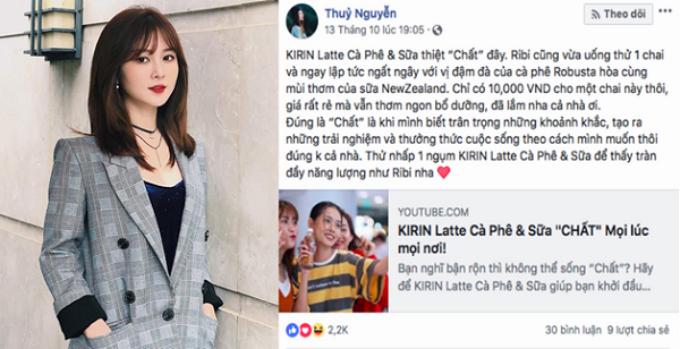 Ribi Sachi (Thủy Nguyễn) chia sẻ về định nghĩa sống chất trên Facebook.
