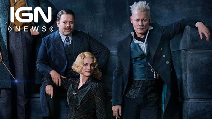 Johnny Depp chụp hình chung với dàn diễn viên phimFantastic Beast: The Crimes of Grindelwald. Ảnh: IGN