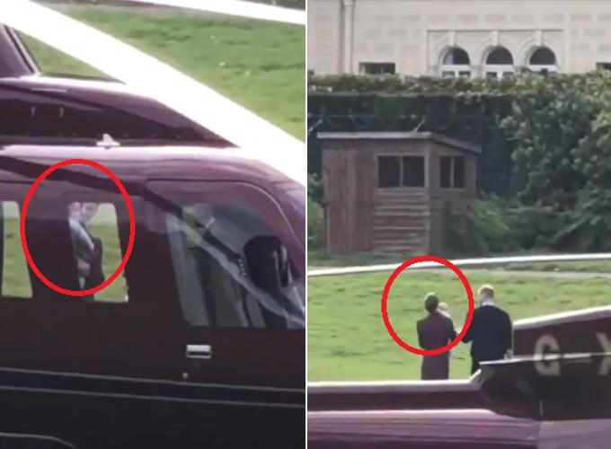 Hoàng tử Louis được mẹ Kate bế trên tay khi xuống trực thăng. Ảnh: Instagram.
