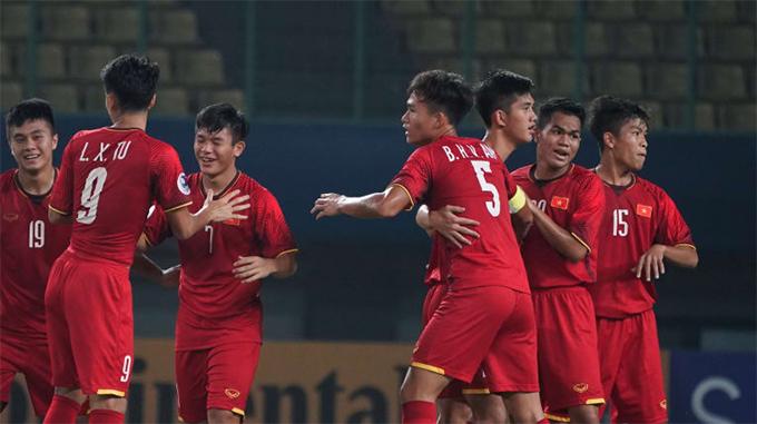 U19 Việt Nam mừng bàn mở tỷ số. Ảnh: AFC.