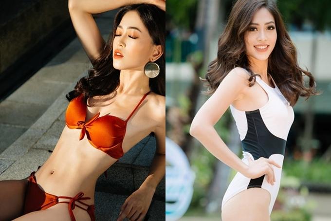 Nhờ có ảnh chân dung được bình chọn cao nhất, Phương Nga tham gia phần chụp ảnh bikini (trái). Ở phần thi bikini sau đó (phải), Á hậu Việt Nam nhận nhiều lời khen bởi phong thái rạng rỡ, tràn đầy năng lượng. Dù vậy, cô để lộ hình thể mỏng trong khoảnh khắc tạo dáng ngang người.