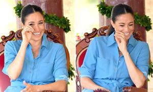 Meghan cười chảy nước mắt khi nghe trẻ em hát tặng