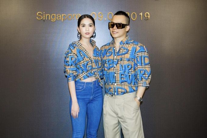 Ngọc Trinh mặcchiếc áo của thương hiệu Burberry giá12,3 triệu đồngdo Vũ Khắc Tiệp tặng sinh nhật trong buổi họp báo Đêm hội chân dài 12.