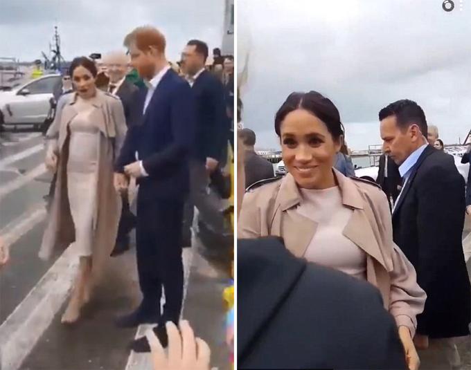 Nữ công tước xứ Sussex há hốc miệng ngạc nhiên khi nhìn thấy cô gái từng trò chuyện trên Instagram ở cảngViaduct, Auckland, New Xealand chiều 30/10. Ảnh: Twitter.