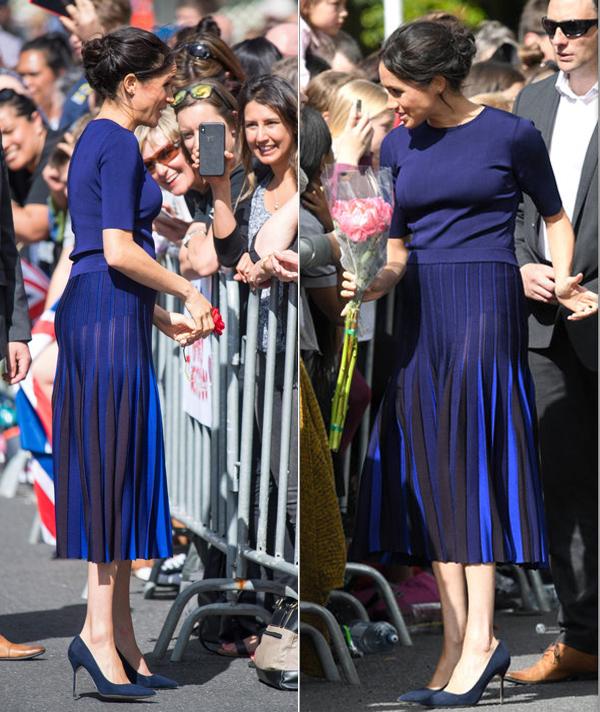 Vòng ba và nội y của bà bầu hoàng gia bị lộ ra bên trong chiếc váy len xếp li nữ tính. Ảnh: Express.