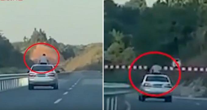 Cậu bé 13 tuổi ngồi trên nóc ôtô qua cửa sổ trời và thiệt mạng vì bị đập vào thanh chắn ở đường cao tốc gần Tân Dư, tỉnh Giang Tây, Trung Quốc hôm 28/10. Ảnh: Btime.com.