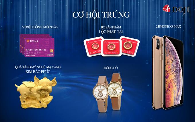 Các giải thưởng gồm một cặp iPhone XS max, năm thẻ ATM TPBank mỗi thẻ trị giá 5 triệu đồng, bộ nhẫn Lộc Phát Tài, hai sản phẩm Kim Bảo Phúc và ba đồng hồ thời trang trị giá 5 triệu đồng.