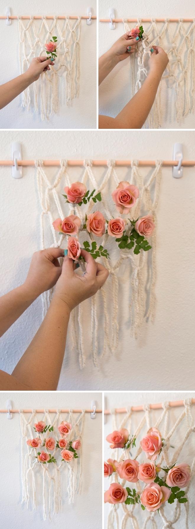 Hướng dẫn làm thảm macrame kết hoa cho đám cưới boho