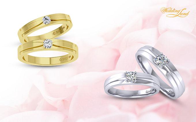 Chỉ một viên kim cương chủ tự nhiên gắn trên đai nhẫn, nhẫn cưới Mono mang thông điệp về một tình yêu trọn vẹn, nồng nàn và duy nhất.