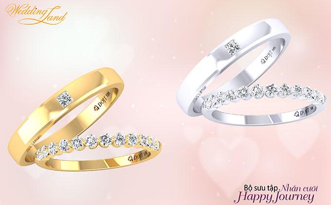 Bộ sưu tập sử dụng nhiều chất liệu phong phú như vàng trắng, vàng vàng, vàng hồng 14k hay 18k gắn kim cương tự nhiên cho các cặp đôi thỏa sức lựa chọn. Nhẫn nữ với dải kim cương tấm, thêm chút cách điệu bằng các chi tiết vàng chạy quanh thân tạo sự lấp lánh và mềm mại cho cô dâu thêm phần nổi bật.