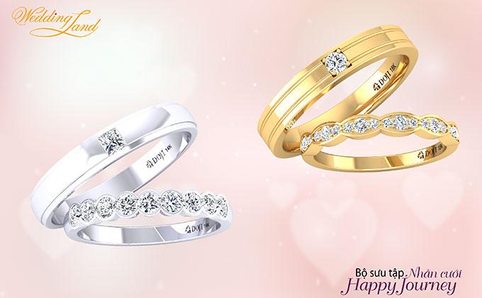 Điểm đặc biệt nhất của bộ sưu tậplà sự kết hợp linh hoạt trong thiết kế, cô dâu có thể đeo riêng nhẫn cưới và nhẫn đính hôn theo cách truyền thống.
