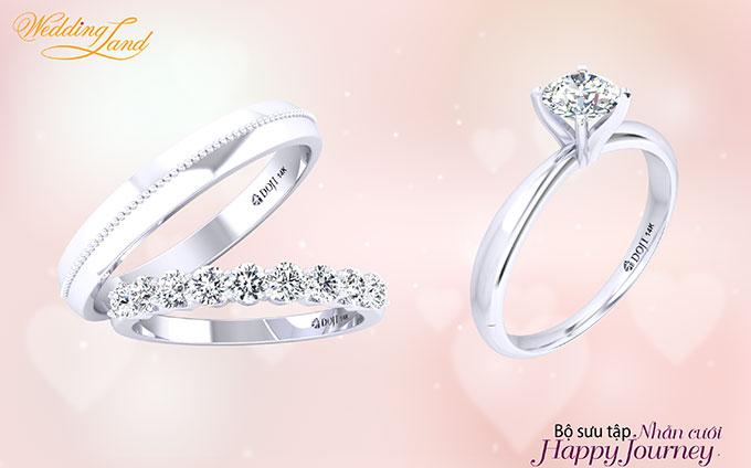 Sự kết hợp giữa nhẫn đính hôn và nhẫn cưới thời trang giúp cô dâu thêm tỏa sáng trong ngày trọng đại.