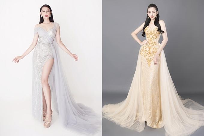 Hai chiếc váy dạ hội của nhà thiết kế Nguyễn Minh Tuấn được Thùy Tiên chuẩn bị cho chung kết ngày 9/11.