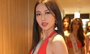 Thùy Tiên lộ đùi to khi thi bikini ở Miss International