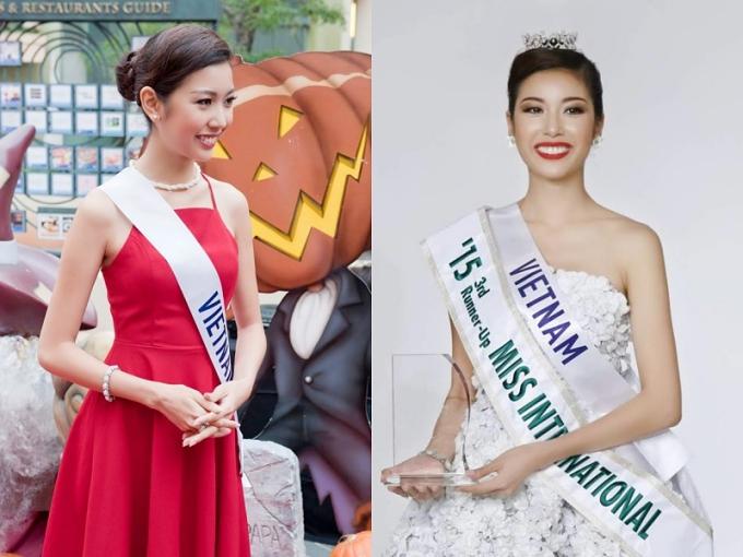 Thúy Vân thể hiện phong độ tốt suốt cuộc thi (trái), giúp cô đoạt giải Á hậu 3.