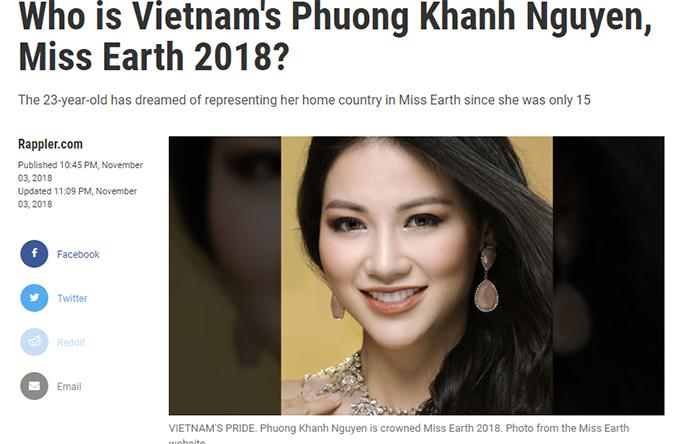 Phương Khánh trên báo Philippines.