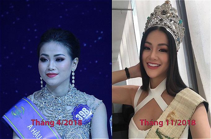 So với hình ảnh từ tháng 4/2018 khiNguyễn Phương Khánh đạt ngôi vị Á hậu Hoa hậu Biển, nhan sắc tân Hoa hậu Trái đất đã có sự thay đổi rõ rệt. Nhiều khán giả đặt nghi vấn người đẹp can thiệp dao kéo trước khi đến với Miss Earth 2018.