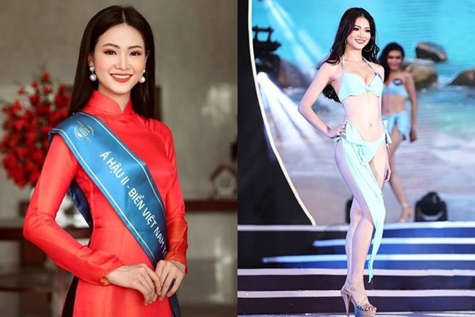 Phương Khánh tại thời điểm đoạt ngôi Á hậu 2 Hoa hậu Biển Việt Nam toàn cầu 2018 vào tháng 4 vừa qua. Gương mặt sắc nét, thân hình gợi cảm là những điểm nổi bật của người đẹp.