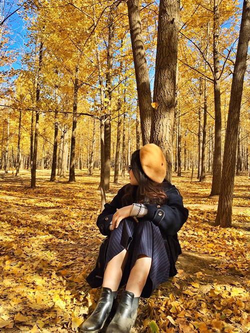 Sống ở Bắc Kinh một thời gian, Thảo tinh tường nhiều địa điểm chụp ảnh đẹp và các chốn vui chơi của dân bản xứ. Mới đây, cô gái trẻ bất ngờ gây xôn xao trong cộng đồng du lịch bởi bộ ảnh mùa thu vàng ở thành phố nàyđẹp đến nao lòng. Nhiều người cũng trầm trồ, xuýt xoa vớihình ảnh thảm lá vàng tỏa sắc trong nắng tháng 11 trong một khu rừng còn nhiều nét hoang sơ và vắng người qua lại.