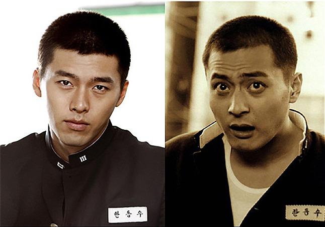 Hyun Bin (trái) trong phim truyền hình Friend (2009) và Jang Dong Gun trong phiên bản điện ảnh (2001)