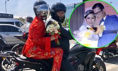 Ca sĩ Hồng Mơ được rước dâu bằng xe máy