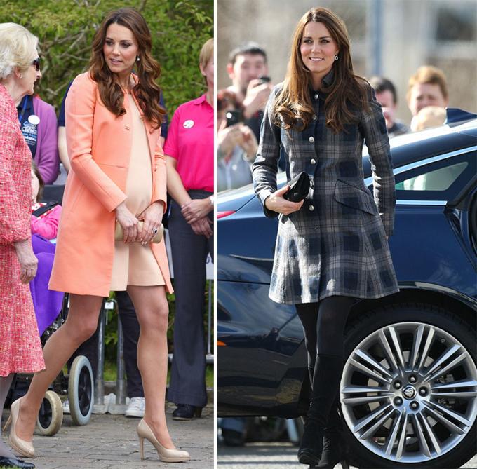Kate tận dụng váy ngắn trong các lần mang thai để giữ hình ảnh đẹp trong mắt công chúng. Ảnh: UK Press.