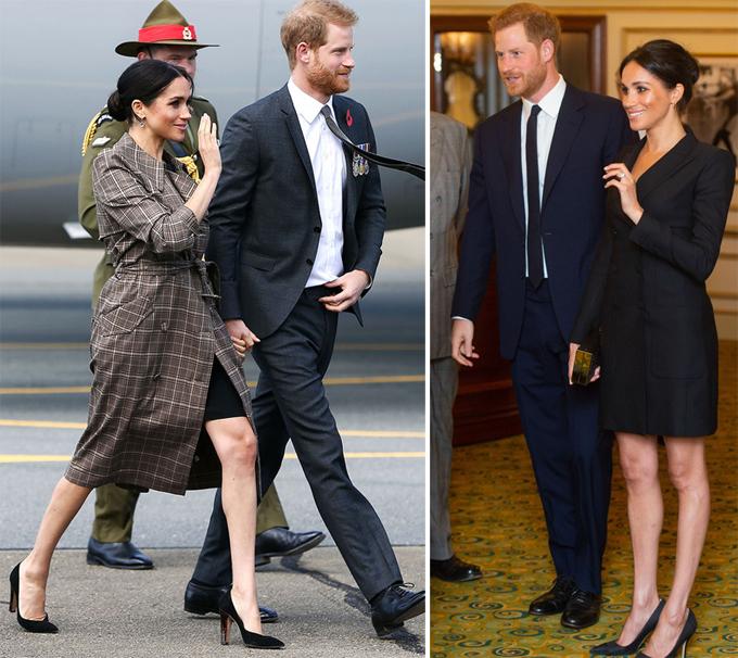 Meghan nhiều lầnmặc váy ngắn trên đầu gối trong chuyến công du hồi tháng 10 ở bốn nước châu Đại Dương. Ảnh: UK Press.