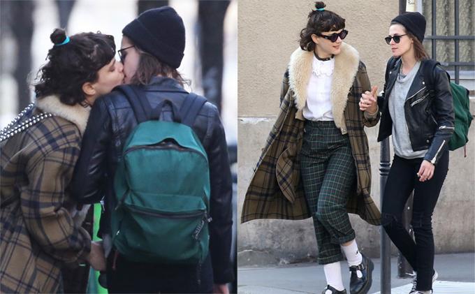 SoKo và Kristen Stewart hôn nhau trên đường phố Paris vào tháng 3/2016.