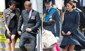 Lý do Meghan và Kate mặc váy trên đầu gối khi mang thai