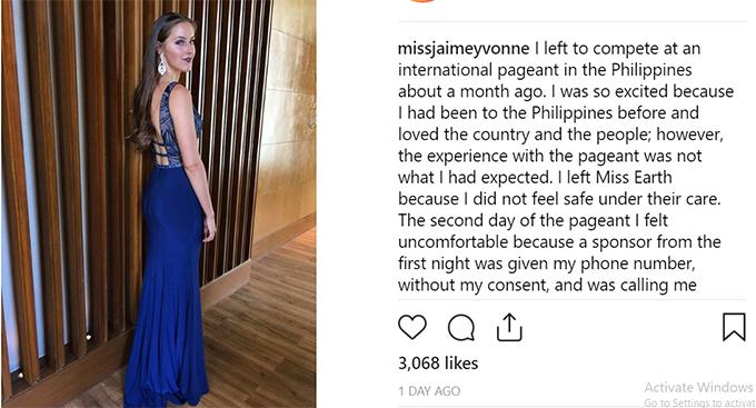 Jaime VandenBerg đăng thông tin bị gạ tình ở Miss Earth 2018.
