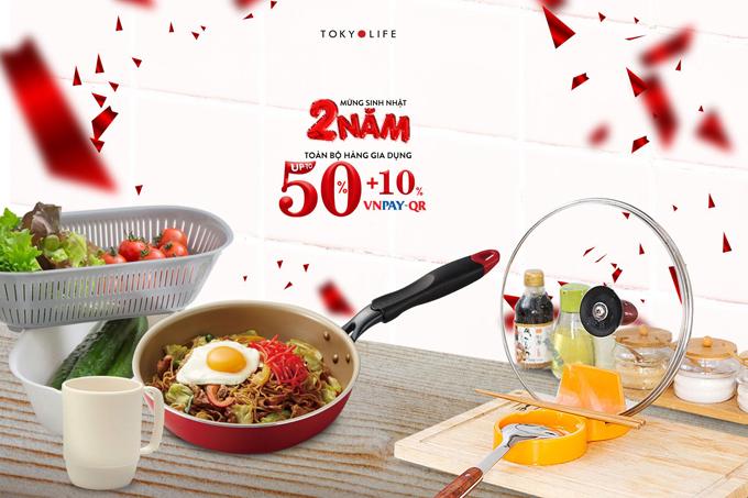 Toàn bộ hàng gia dụng tại TokyoLife giảm 50% để các bà các mẹ làm mới cho căn bếp nhỏ.