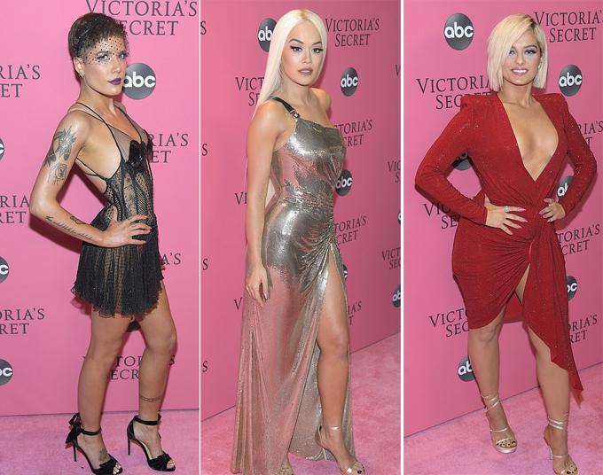 Các ca sĩ trình diễn trong show nội y (từ trái qua): Halsey, Rita Ora và Bebe Rexha.