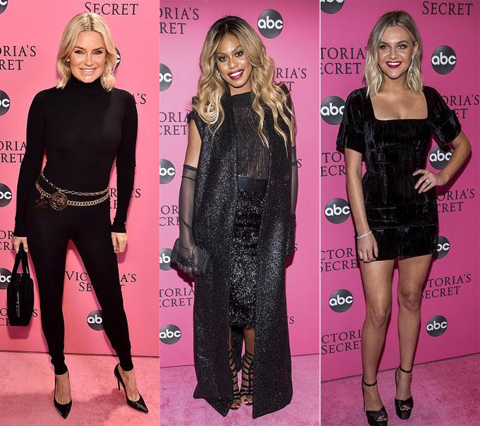 Cựu người mẫu Yolanda Hadid (bên trái) tới ủng hộ hai cô con gái Gigi Hadid và Bella Hadid trình diễn. Bên cạnh cô là nữ diễn viên Lavern Cox (giữa) và ca sĩ Kelsea Ballerini.