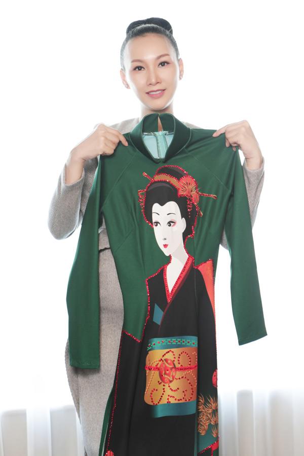 Hoa hậu Paris Vũ khoe một bộ cánh cô sẽ mặc diễn trong sự kiện Giao lưu Văn hóa Việt - Nhật.