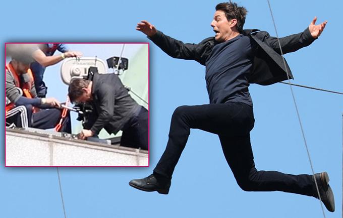 Nổi tiếng là người liều mạng và xả thân cho các bộ phim hành động, Tom Cruise gặp không ít tai nạn trường quay. Trong bom tấn Mission: Impossible 6 ra mắt mùa hè năm nay, tài tử 56 tuổi từng bị chấn thương khớp gối nghiêm trọng khi bật nhảy giữa hai tòa nhà. Động tác nhảy của anh kết thúc hơi sớm khiến anh chưa sang tới được tòa nhà đối diện, đầu gối đập vào bờ tường. Sau khi gượng dậy bước được vài bước ngắn, Tom Cruise ngã gục bên cạnh các thành viên đoàn phim.