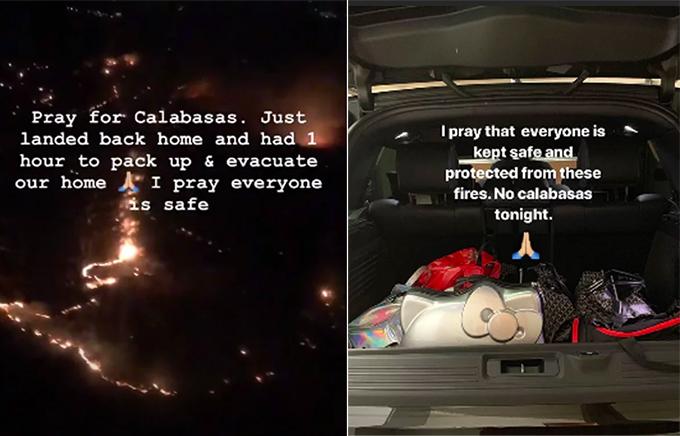 Kim Kardashian sơ tán trong đêm, cầu nguyện cho ngọn lửa không thiêu rụi nhà cô và mọi người được an toàn.