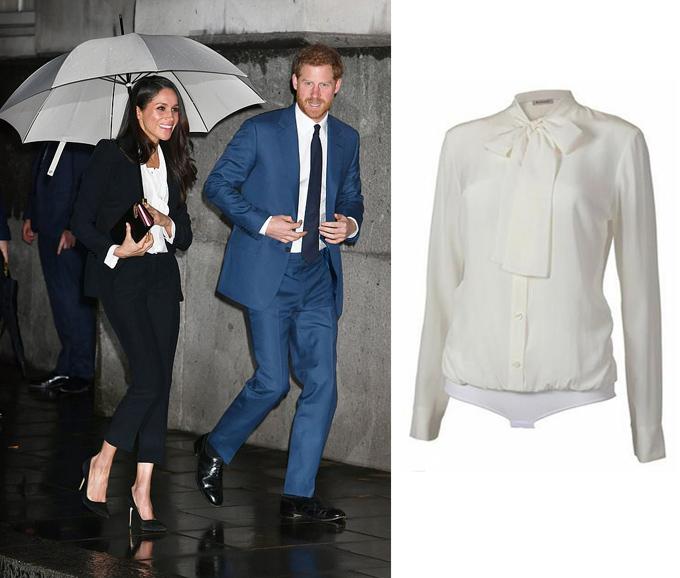 Đây không phải lần đầu tiên Nữ công tước xứ Sussex chọn bodysuit thay vì  áo rời. Hồi tháng 2, cô diện thiết kế sơ mi dạng bodysuit nữ tính giá  280 USD, phối cùng bộ suit Alexander McQueen khi tham dự lễ trao giải  Endeavour. Sau đó ba tháng, Meghan mặc lại item này tới buổi tổng duyệt  đám cưới.