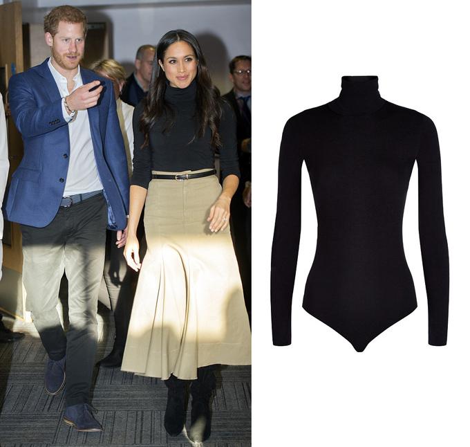 Tháng 12 năm ngoái, vợ Hoàng tử Harry kết hợp chân váy Joseph Lauren với bodysuit 210 USD của Wolford.