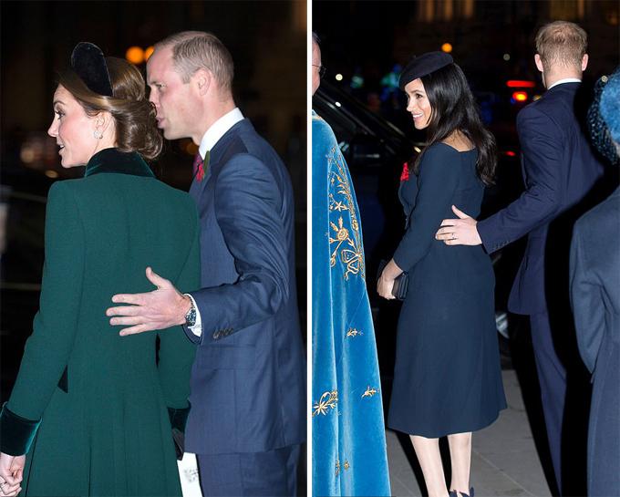 Cả hai hoàng tử luôn song hành cùng vợ và thường xuyên thể hiện các hành động chăm sóc ân cần như đỡ lưng để giúp các nữ công tước đứng vững trên những đôi giày cao gót.