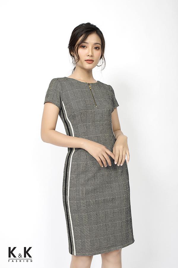 Đầm ôm caro dây kéo đồng xinh xắn KK79-06; Giá: 430.000 VND