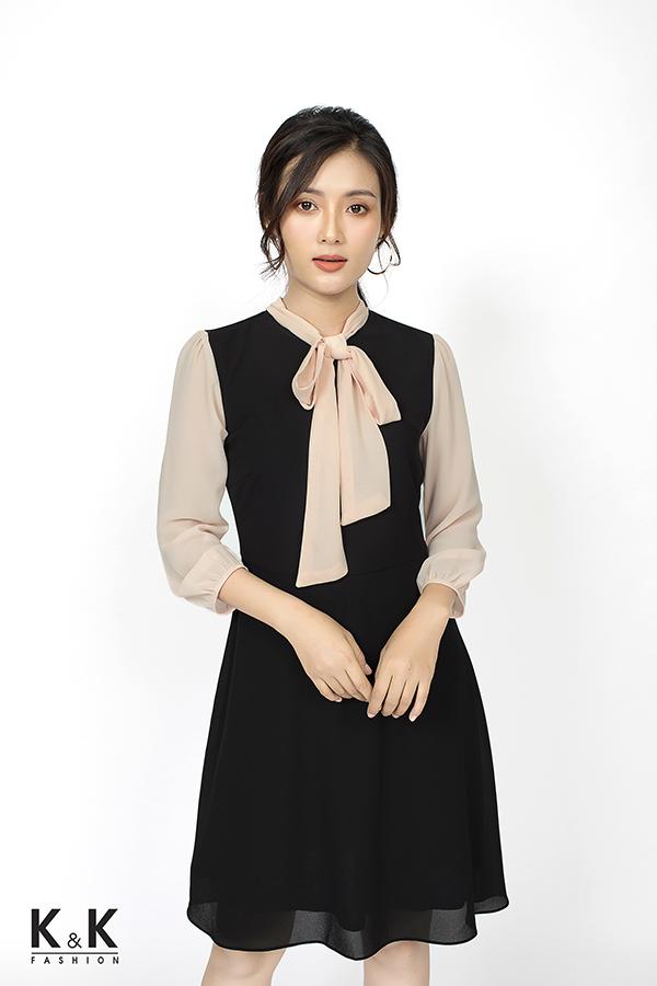 Đầm xòe đen phối hồng nơ cổ điệu đà HL04-23; Giá: 410.000 VND