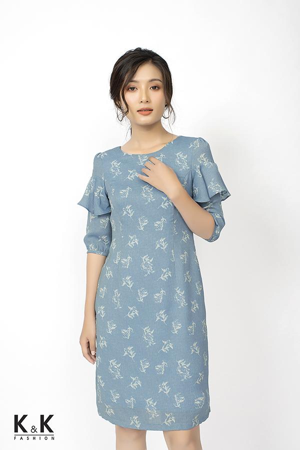 Đầm suông xanh tay lỡ phối bèo KK79-35; Giá: 420.000 VND