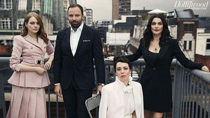 Từ trái qua: Emma Stone, đạo diễnYorgos Lanthimos,Olivia Colman vàRachel Weisz chụp hình cho tạp chí The Hollywood Reporter.